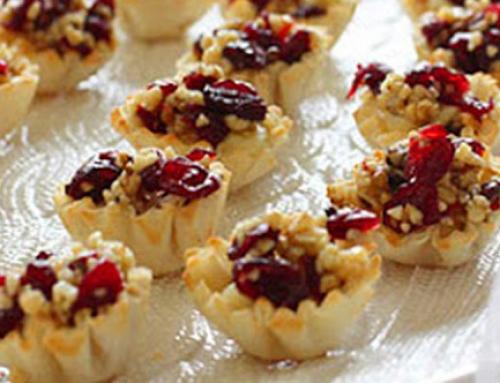 Brie en cranberry filopakketjes