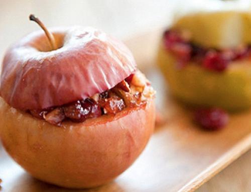 Gepofte appel met cranberry (en noten)